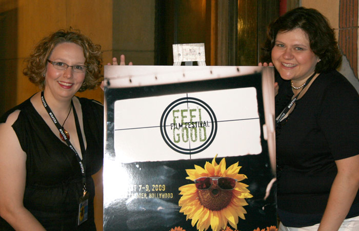 Catherine Miller (producer) and Ann Calamia (writer/director) at the Feel Good Film Festival in Hollywood, CA with their award-winning film, Universal Signs.